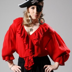Barbarossa Women's Pirate Blouse in Red, Black & White