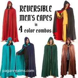 Vampire / Medieval Reversible Hooded Cloak in 4 Color Combinations