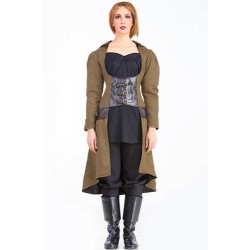 Steampunk Under-bust Vampire Women's Trench Coat