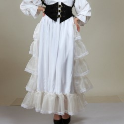 Duggin Frilly White Satin Steampunk Skirt