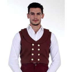 Victorian Engineer Steampunk Double Breasted Vest Brown