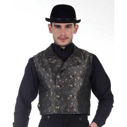 Steampunk Black Double-Breasted Cavalier Vest