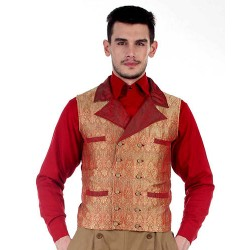 Curtis Steampunk Vest Gold & Red Brocade