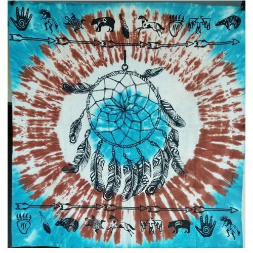"Dreamcatcher & Animal Totems on Turquoise / White Tie Die 36"" x 36"""