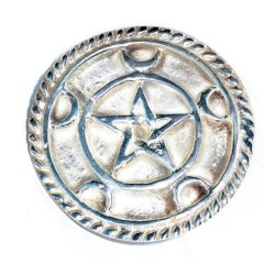 """Altar Tile - 3"""" Pentagram with Moons in Silver Plated Brass"""