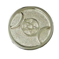 Silver Plated Brass Triple Moon altar tile 3 1/2""