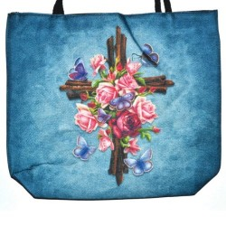 "Cross with Rose Jute Tote Bag 14"" x 16"""