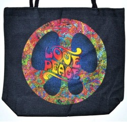 "Love Peace Jute Tote Bag 14"" x 16"""