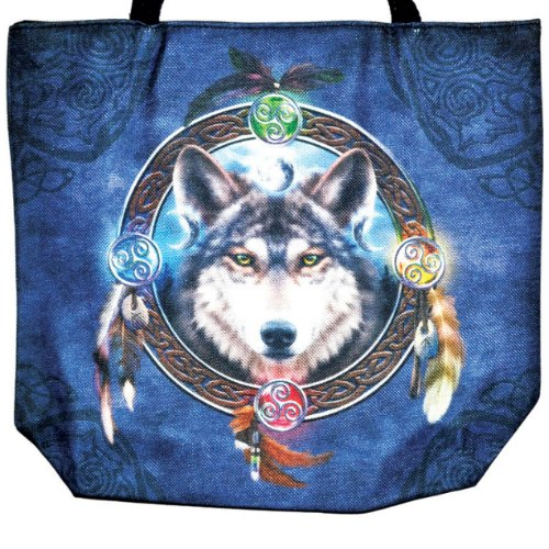 "Celtic Wolf Guide Jute Tote Bag 14"" x 16"""