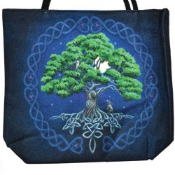 "Tree of Life Jute Tote Bag 14"" x 16"""