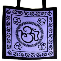 "Om Tote Bag in Black & Purple - 18"" x 18"""