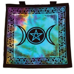 "Tote Bag - Triple Moon Goddess on Tie Dye - 18"" x 18"""