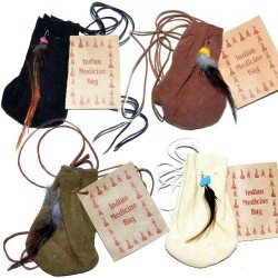 Indian Medicine Bag in Black, Brown, Green, White Leather