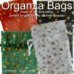 """Organza Drawstring Pouches Black, Green, Red, White with Metalic Stars 3"""" x 4"""""""