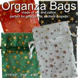 Organza Drawstring Pouches Black, Green, Red, White with Metalic Stars