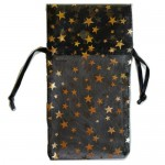 """Black organza pouch with Gold Stars 3"""" x 4"""""""
