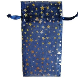 """Blue Organza Drawstring Pouch with Silver Stars 3"""" x 4"""""""