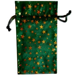 """Green organza pouch with Gold Stars 3"""" x 4"""""""