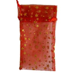 """Red Organza Pouch with Gold Stars 3"""" x 4"""""""