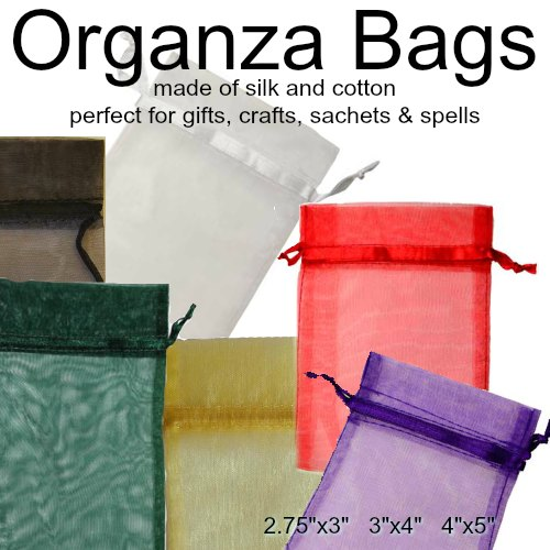 "Organza Pouches  in  Black, Gold, Green, Purple, Red, White 2 3/4"" x 3"", 3"" x 4"", 4"" x 5"""