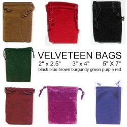Velveteen Bags 7 Colors in 3 Sizes