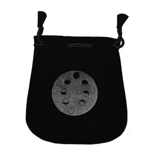 Moon Phases Velveteen Black Bag 5""