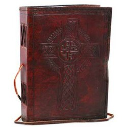 "Celtic Cross Leather Blank Book w/ cord 6"" x 8"""