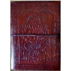 "5"" x 7"" Ganesh leather blank book w/cord"
