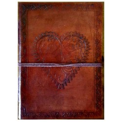 "Heart Leather Blank Book w/ Cord 5"" x 7"""
