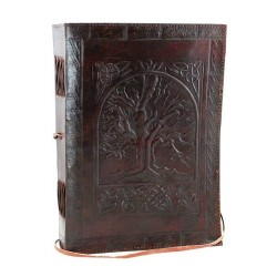 "Tree of Life Leather Blank Book w/ cord 7"" x 10"""