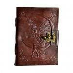 "Fairy Moon Leather Blank Book w/ Latch 6"" x 8"""