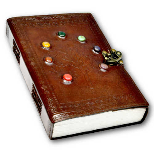 Tree of Life Chakra Stones 7 x 10 Leather Tome w/ Latch