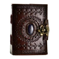 "3.5"" x 5"" Stone God's Eye Leather Blank Book w/ Latch"