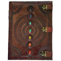 "13 1/2"" x 18"" Chakra Stone leather blank book w/ 3 latch"