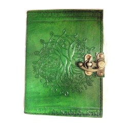 "Tree of Life Leather Journal w/ Latch 5"" x 7"" in Green"