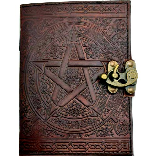 "Interlocking Pentagram Leather Journal w/ Latch 5"" x 7"" Brown"