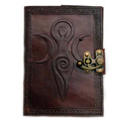 "Maiden Mother Moon Leather Blank Book w/ Latch 5"" x 7"""