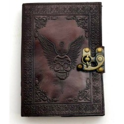 "5""x7"" Skull with Wings leather blank book w/ latch"