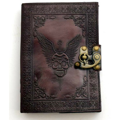 "Skull with Wings Leather Blank Book w/ Latch 5""x7"""