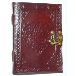 "Celtic Heart Leather Journal w/ latch 5"" x 7"""