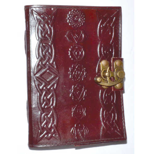 """Chakra Leather Latched Blank Book 5""""x7"""""""