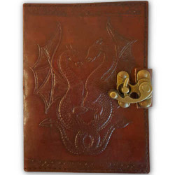 Double Dragon Latched Leather Blank Book