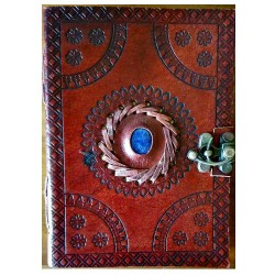 "God's Eye Embossed Leather Journal w/ Latch 5"" x 7"""