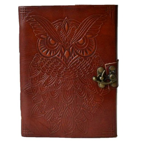 "Owl Leather Blank Book w/ Latch 5"" x 7"""