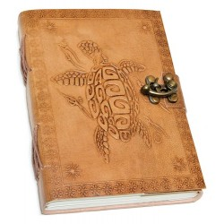 """Turtle Embossed Leather Parchment Journal w/ latch 5"""" x 7"""""""