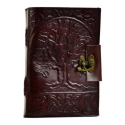 "Tree of Life Leather Blank Book w/ Latch 5"" x 7"""