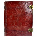 "10"" x 13"" Tree Embossed Leather Blank Book w/ Latch"