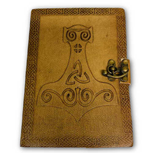 """Thor Hammer Embossed Leather Latched Journal 5""""x7"""""""