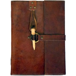 "Leather Blank Book w/ Peg Closure 6"" x 8"""