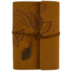 "Leaf Embossed Leather Refillable Journal | Brown 5"" x 7.25"""